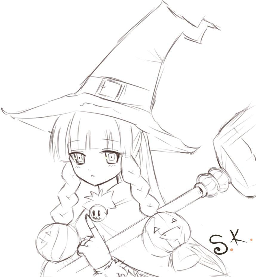 858x930 Pumpkin Witch Sketch By Kimsha235
