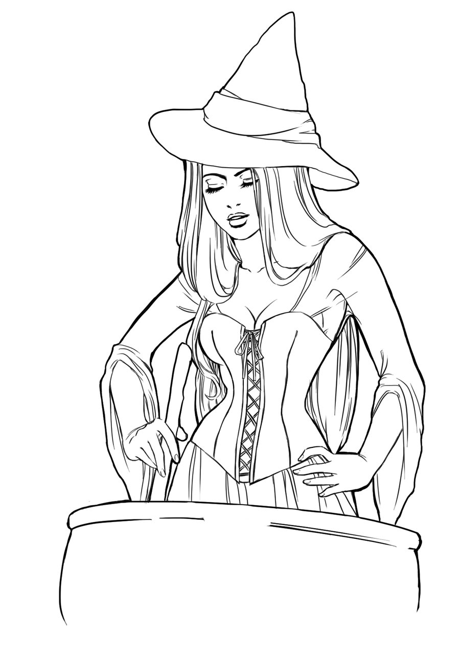900x1285 Witch Lineart By Ariana On @
