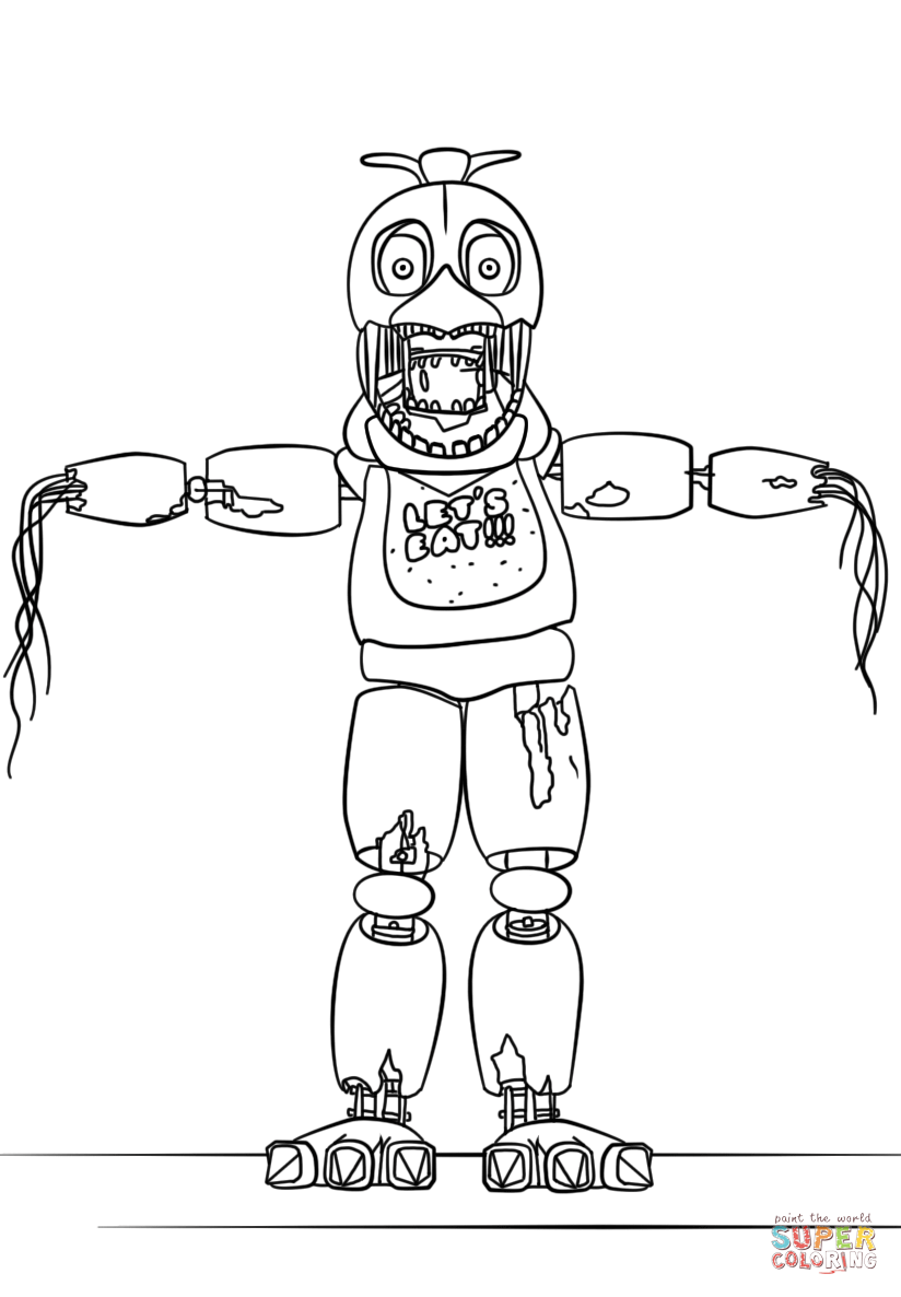 824x1186 FNaF Withered Chica Coloring Page Free Printable Pages