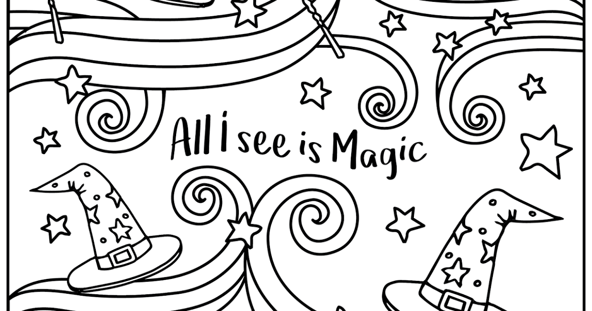 1200x630 FREE Printable Coloring Page Wizard Hat