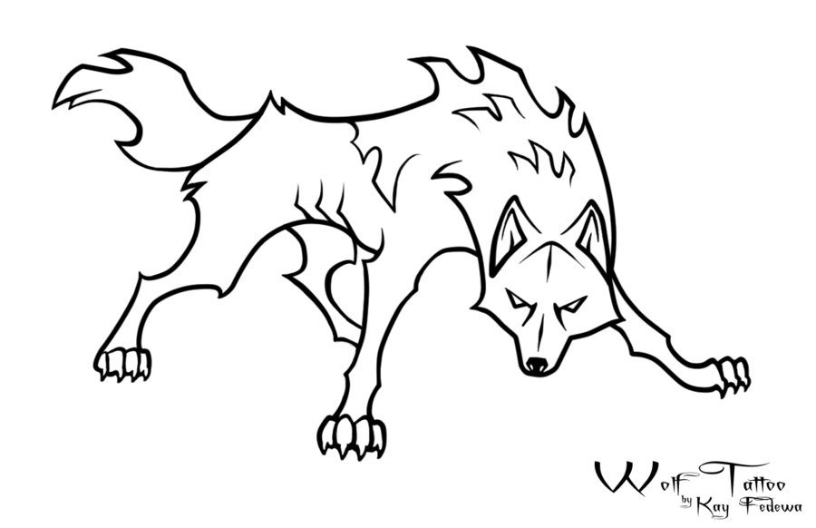 Wolf Black And White Drawing