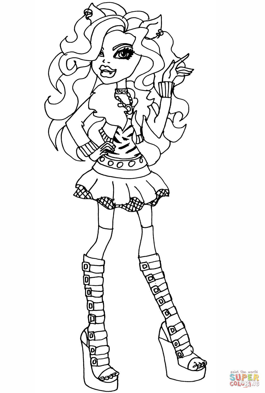 1038x1541 Monster High Clawdeen Wolf Coloring Page Free Printable Coloring