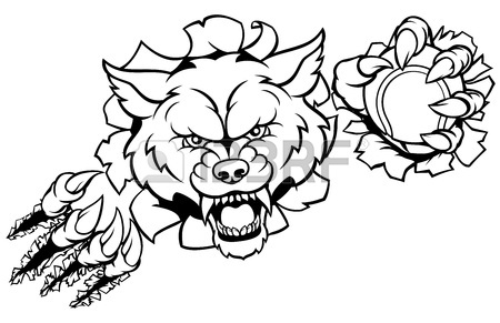 450x291 A Wolf Angry Animal Sports Mascot With Its Claws. Royalty Free