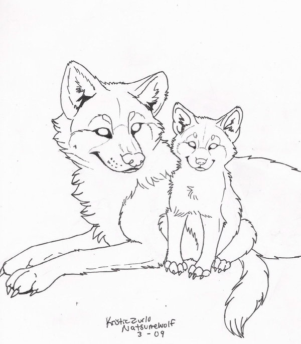 600x686 Free (To Colorly) Wolf And Pup Line Art By Natsumewolf