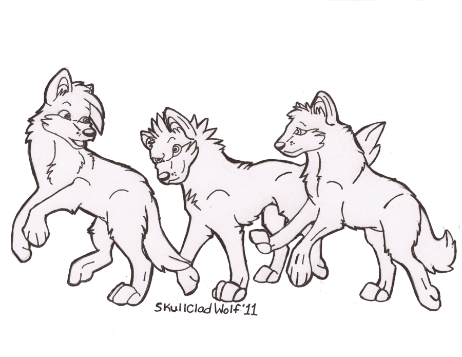 900x695 WIP 3 Wolf Pup Line Art By SkullCladWolf On DeviantArt