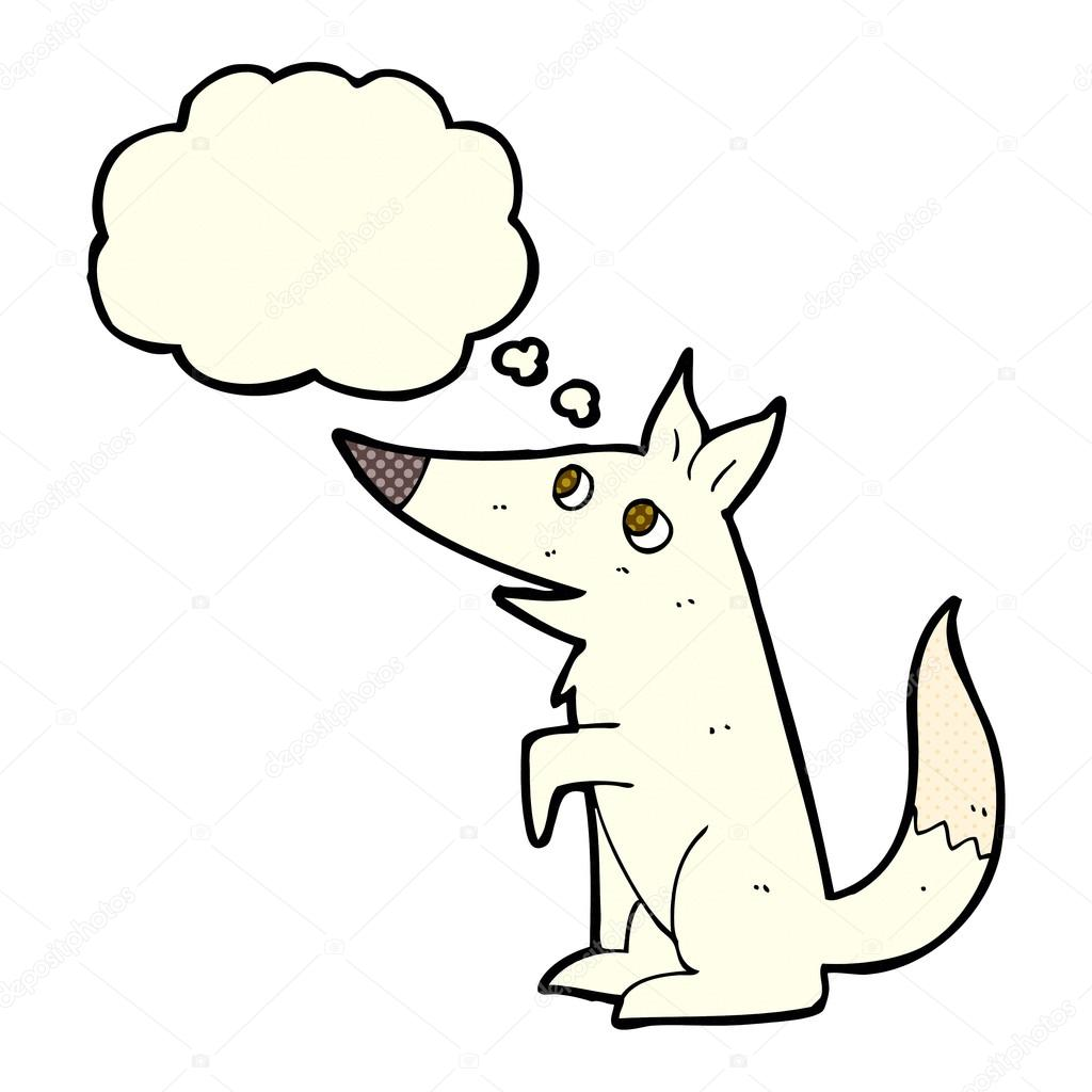 1024x1024 Cartoon Wolf Cub With Thought Bubble Stock Vector