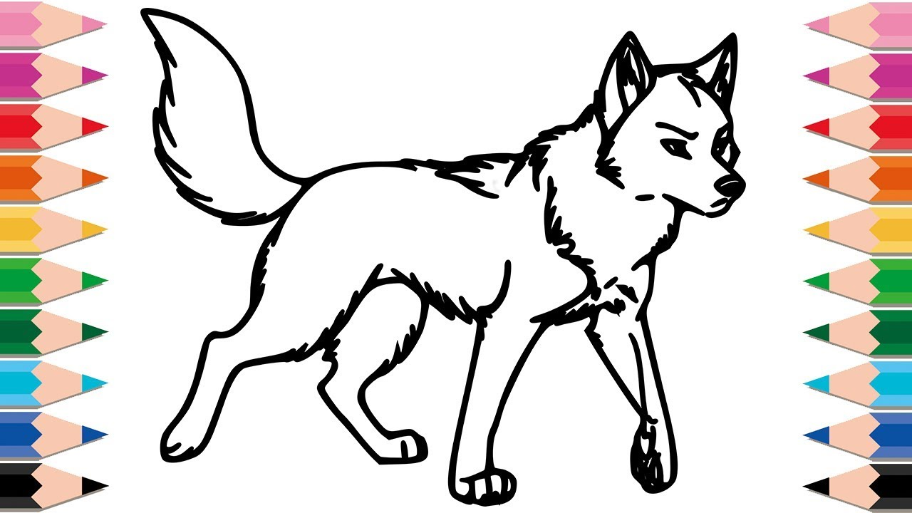 1280x720 How to Draw Wolf Coloring Pages for Kids Drawing Animals Learn