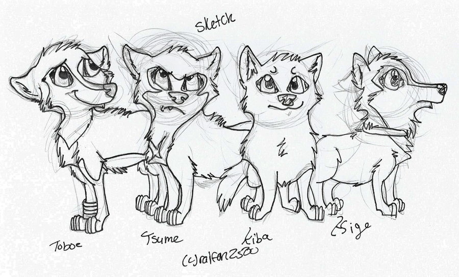 900x544 wolf pack sketch by TheBestBadNewz on DeviantArt