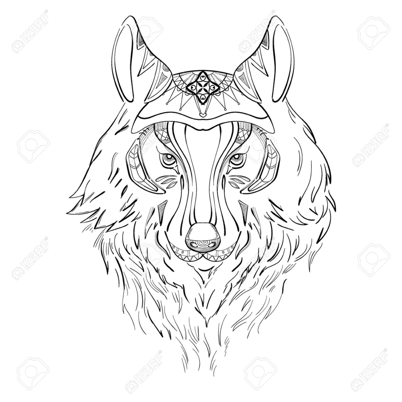 1300x1300 Drawing Of Wolf For Tattoo Royalty Free Cliparts, Vectors, And