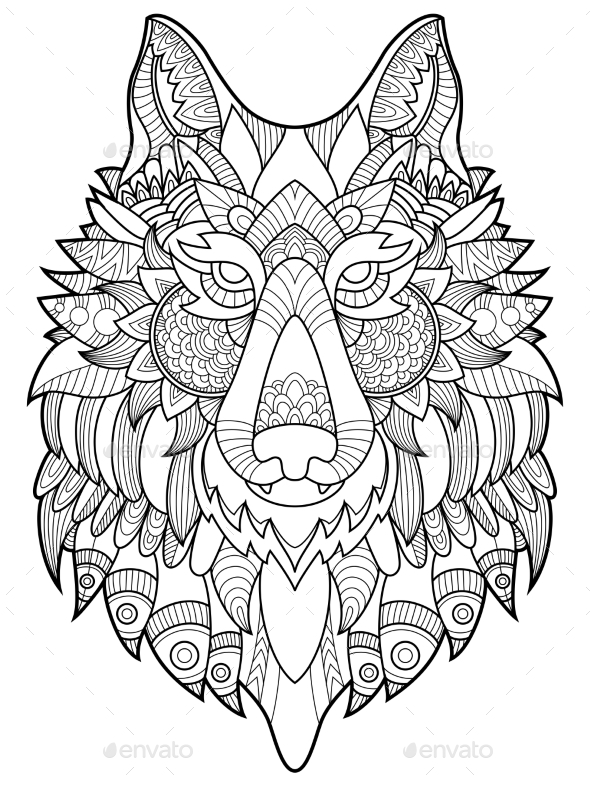 590x787 Wolf Coloring Book For Adults Vector Illustration By AlexanderPokusay