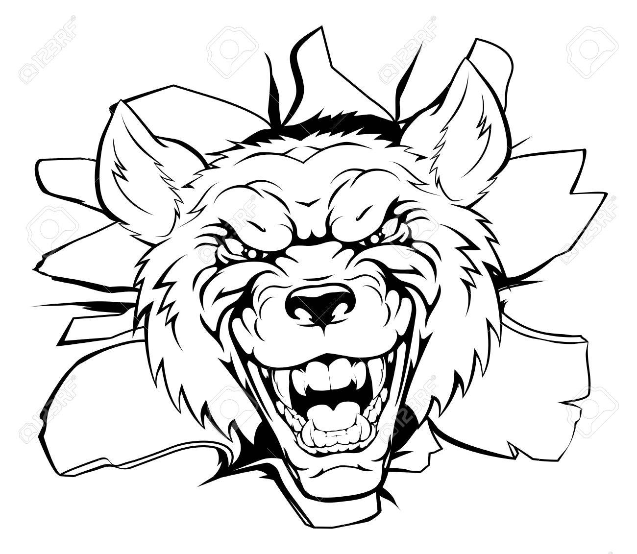 1300x1131 An Illustration Of A Cartoon Tough Wolf Character Face Tearing