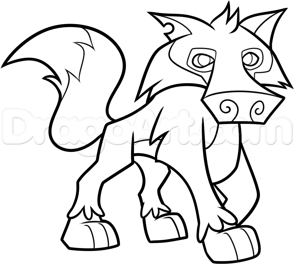 992x891 How To Draw An Animal Jam Wolf Step By Video Game