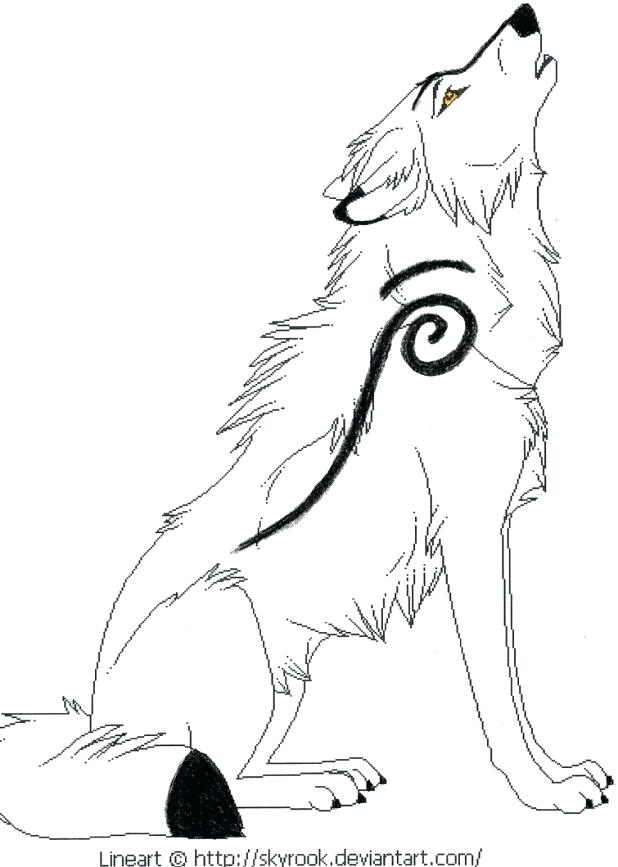 Wolf Drawing Howling At Getdrawings