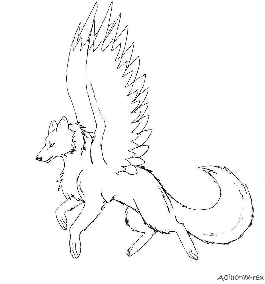 864x924 10 Pics Of Dragon Winged Wolf Coloring Pages
