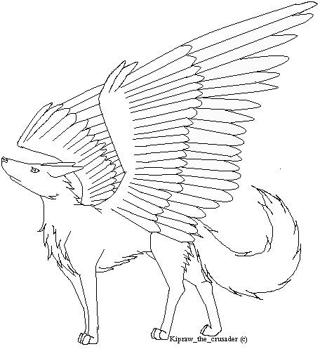 456x497 Easy Winged Wolf Drawings