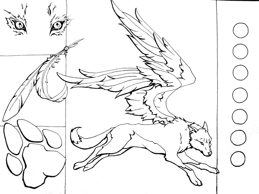 900x675 Winged Wolf Lineart By Mooing Duckerberry