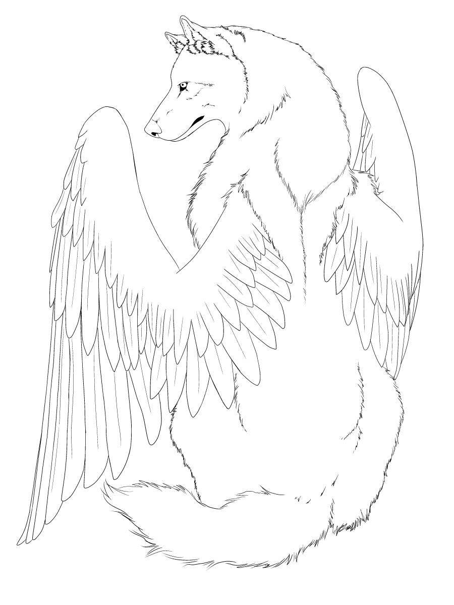 900x1200 Winged Wolf Line Art Edited By Crimsonwolfsobo