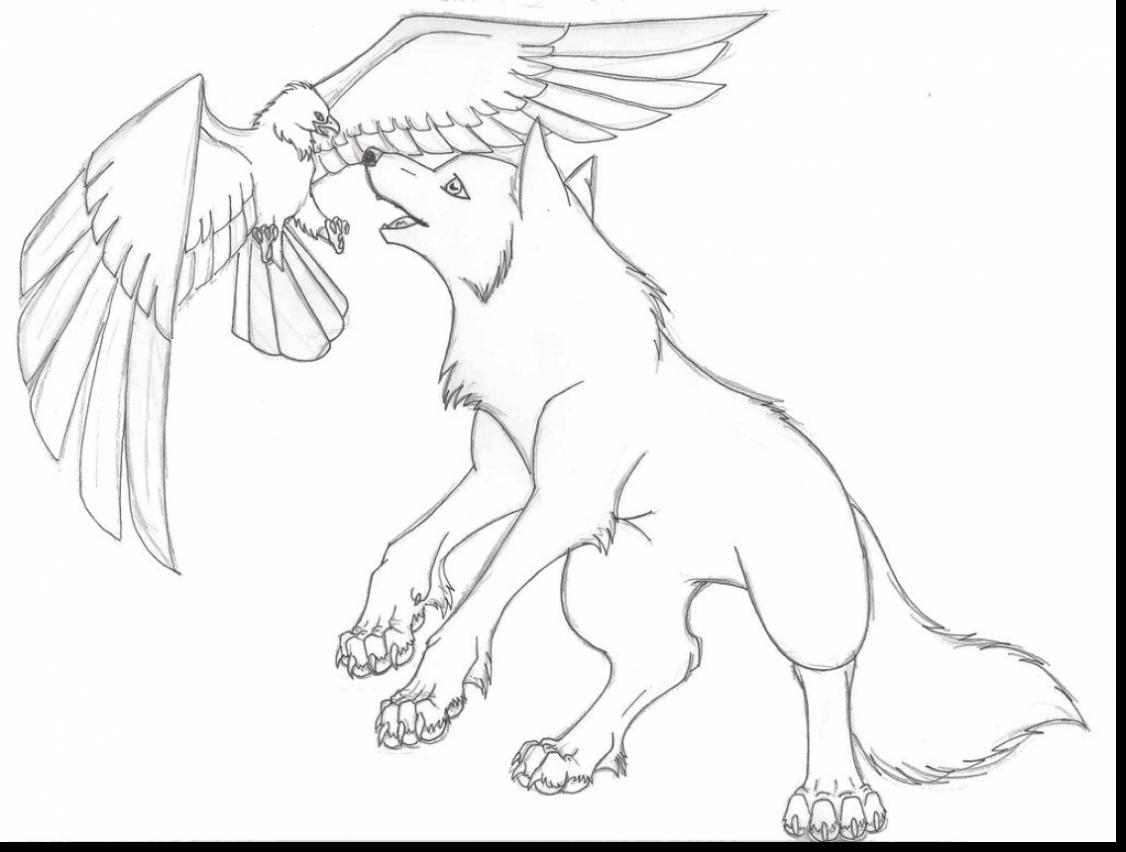1126x852 Remarkable Anime Wolf With Wings Coloring Pages With Wolf Coloring