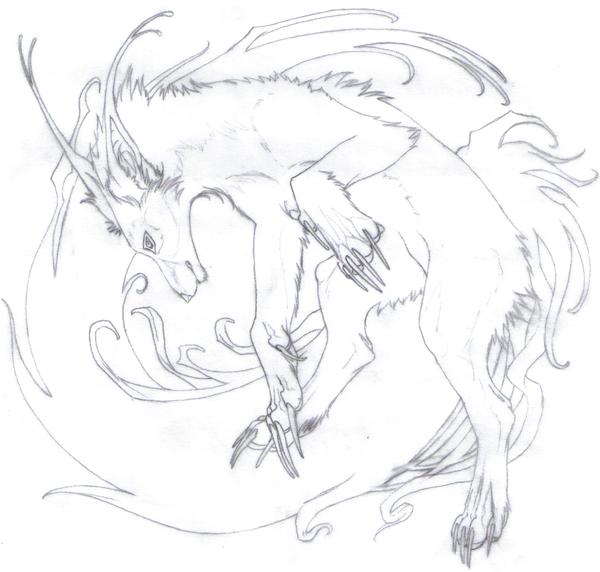 600x572 Flowing Wolf Sketch By Indigo Akela
