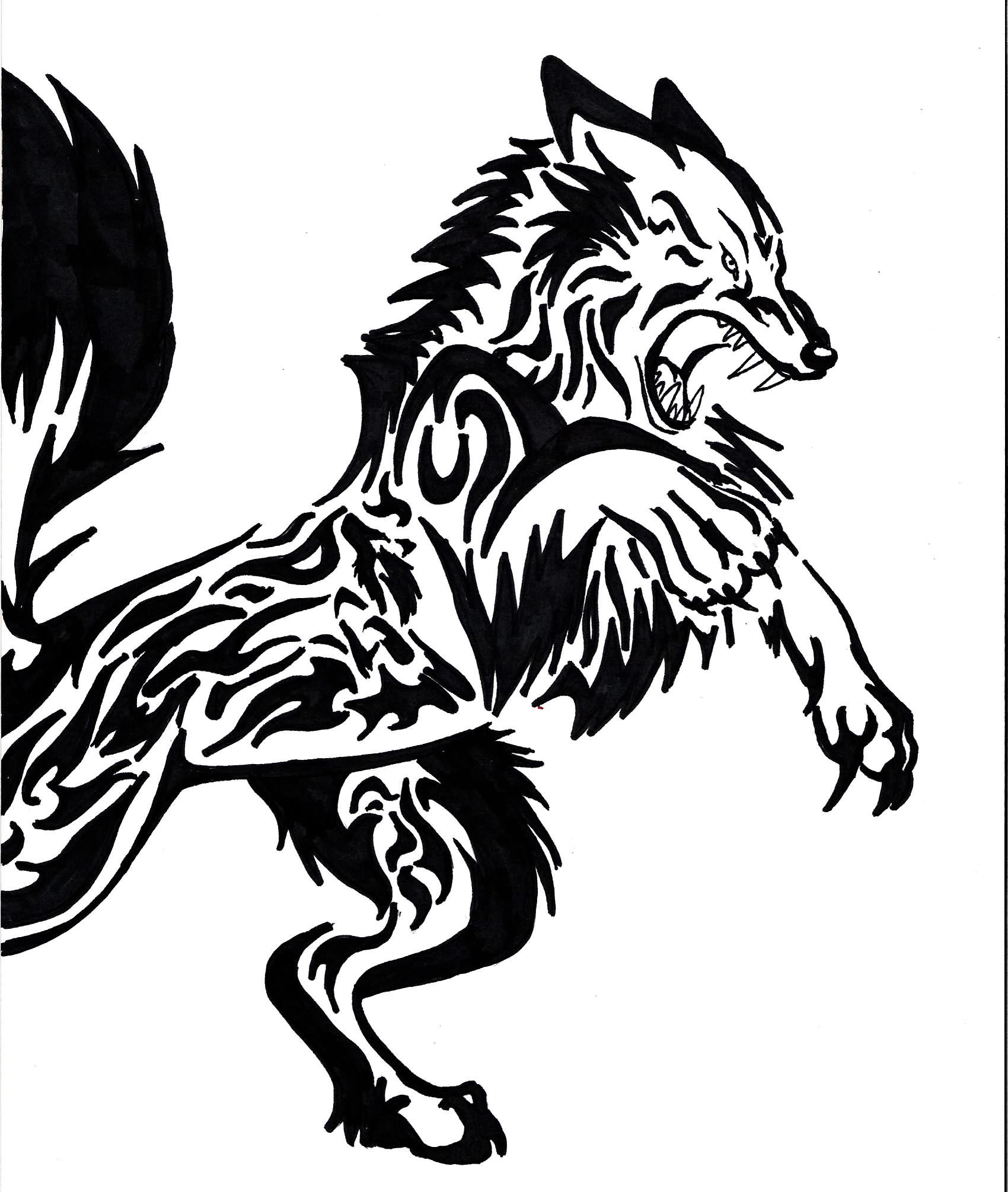 1700x2011 Evil Wolf Face Drawing