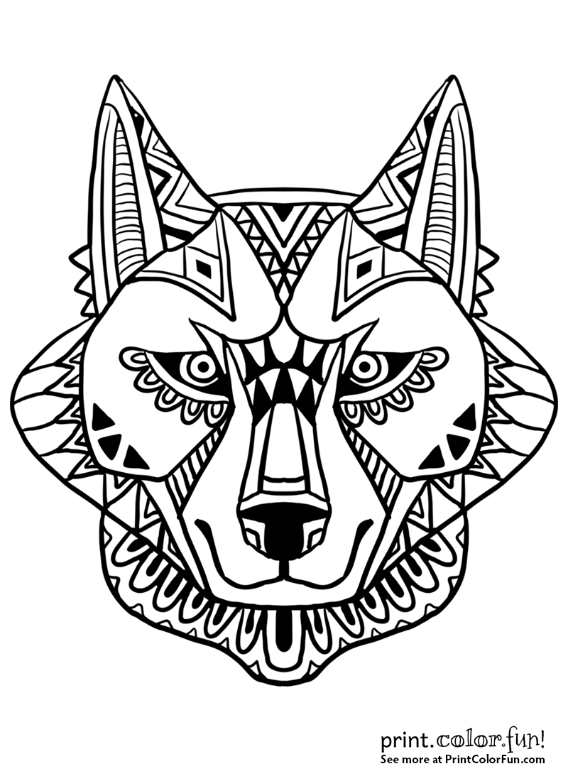 800x1100 Abstract Wolf Face Design Coloring Page