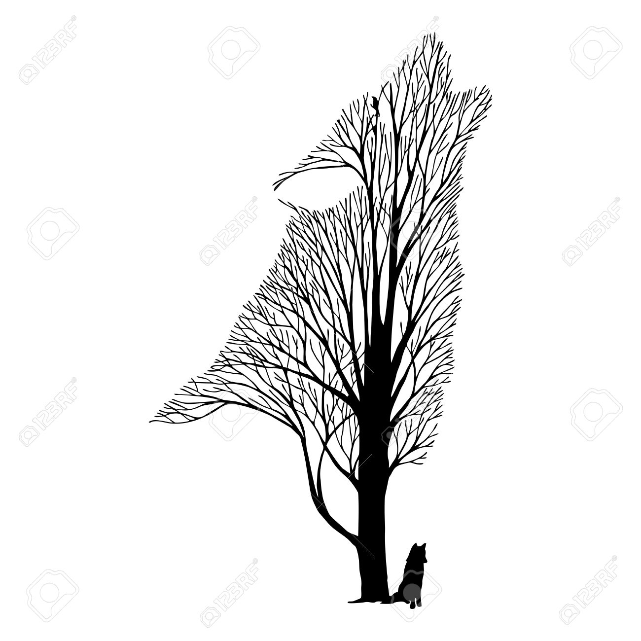 1300x1300 Wolf Face Blend Tree Drawing Tattoo Vector Royalty Free Cliparts