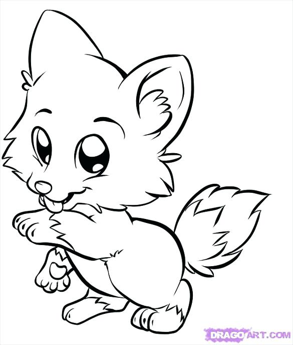 585x687 Coloring Pages Of Wolfs Attractive Baby Wolf Drawing Template