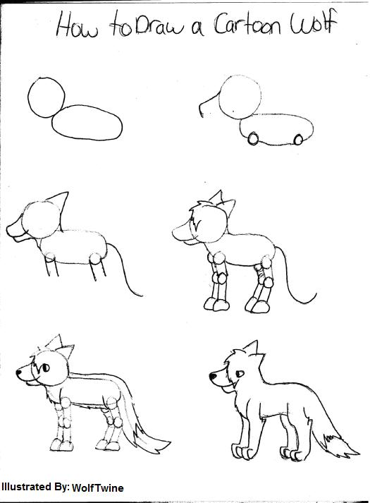 525x713 Drawing How To Draw Cartoon Wolf Body With How To Draw