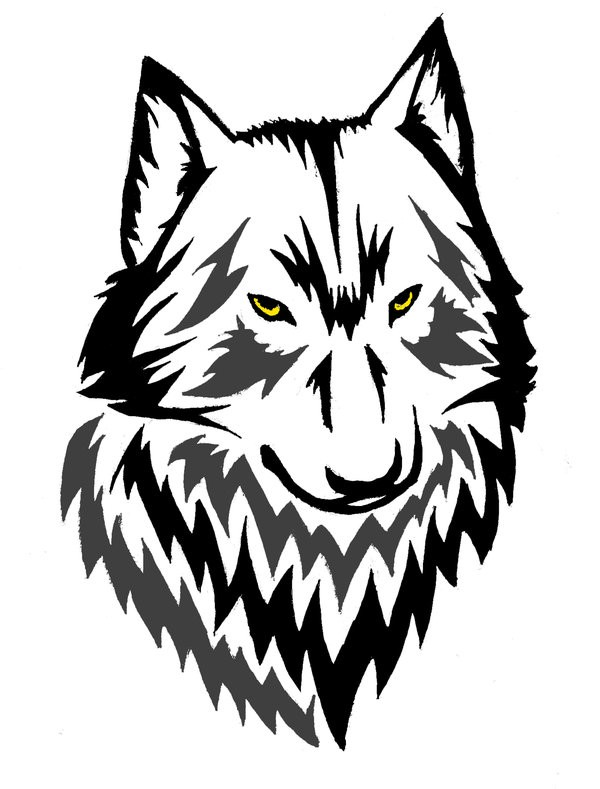 600x789 Sketch Style Colored Wolf Head Tattoo