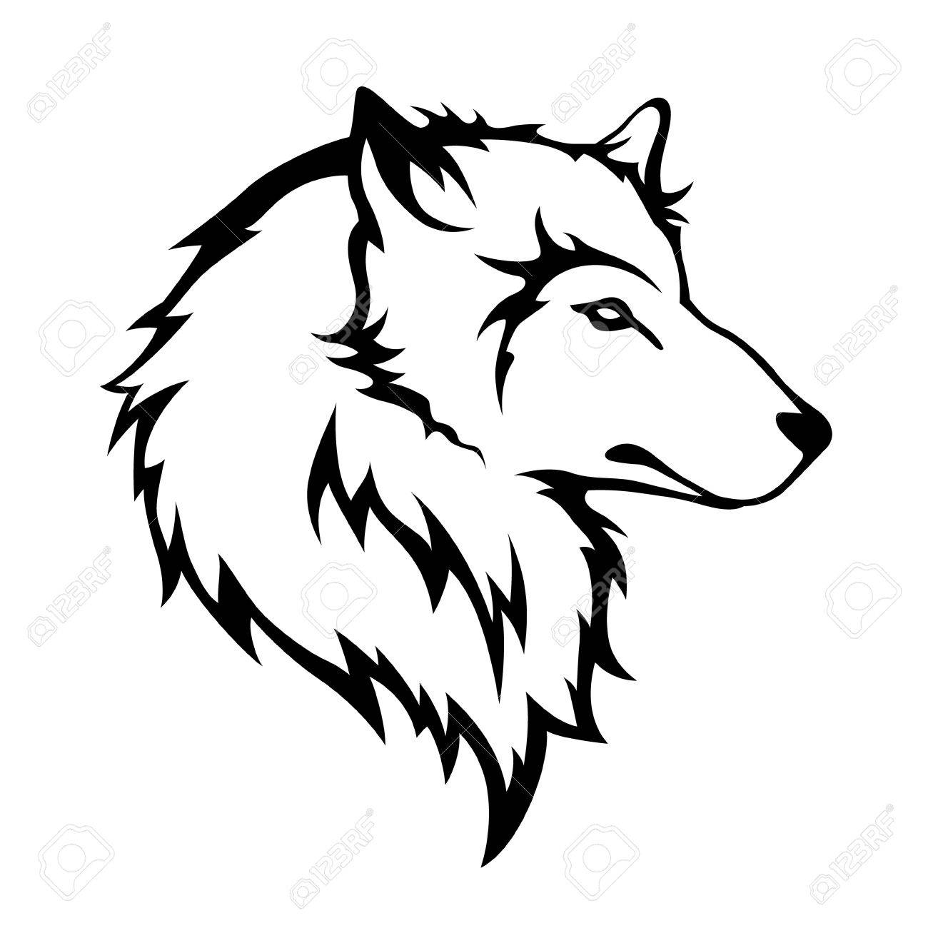 1300x1300 Stylize Wolfs Head Isolated On White Background Royalty Free