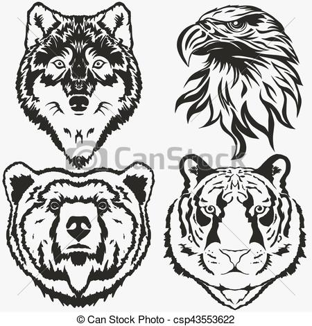 450x470 Tiger Eagle Wolf Bear Logo Set Vector. Tiger Eagle Wolf Bear