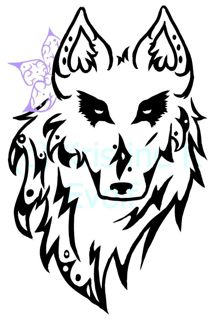 740x1079 Tribal Wolf Head By Evolf