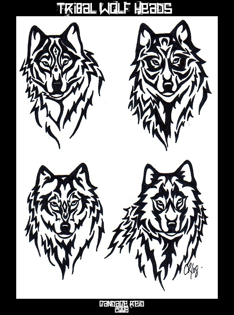 794x1068 Tribal Wolf Heads By Ventisca Seer