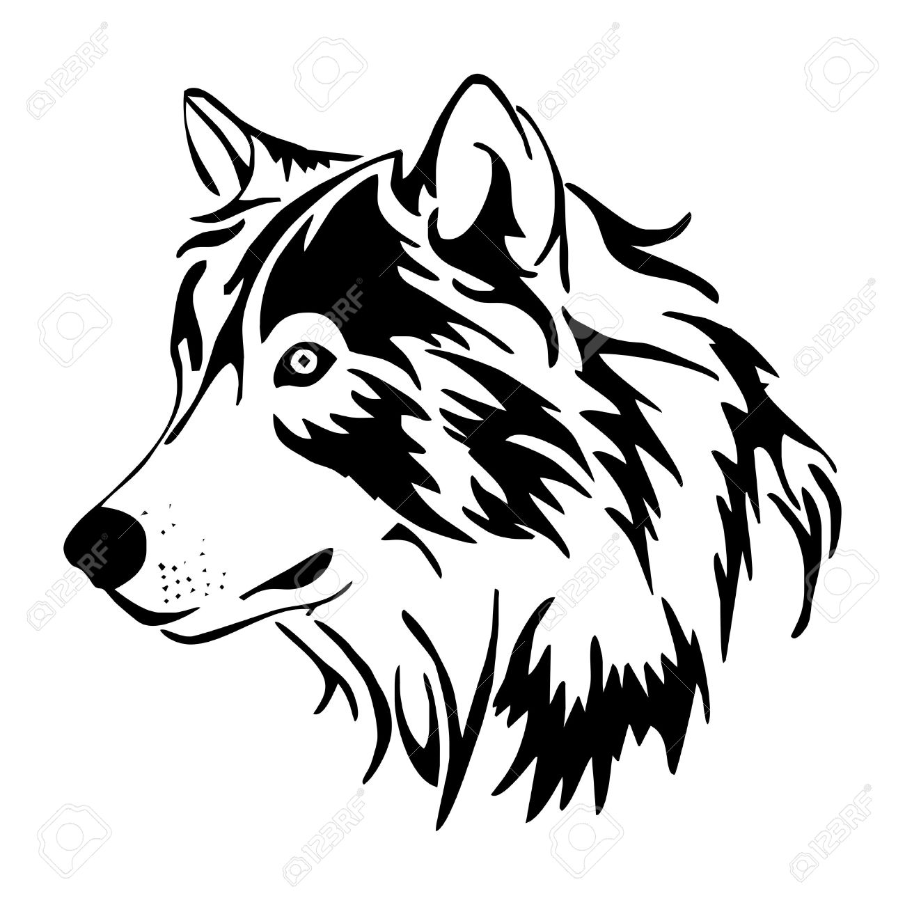1300x1300 Tribal Wolf Head Clipart