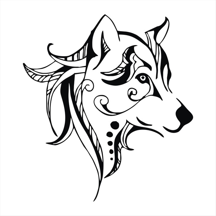 700x700 Wolf Head Tattoo Vector Wall Mural We Live To Change