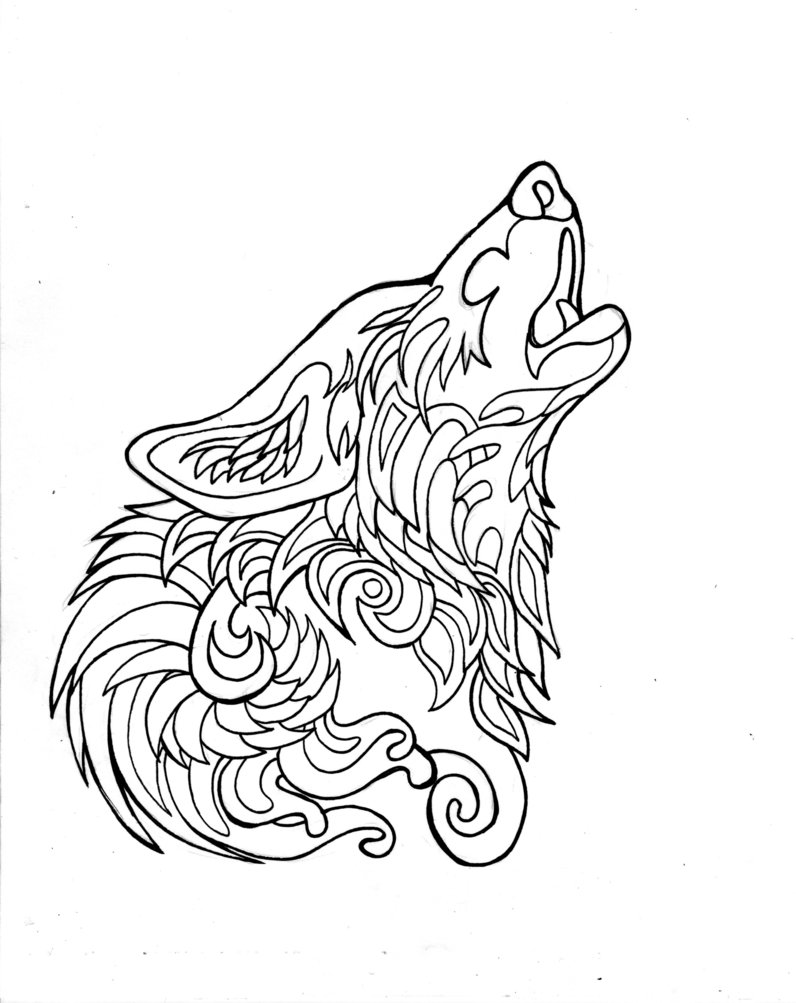 Wolf Howl Drawing