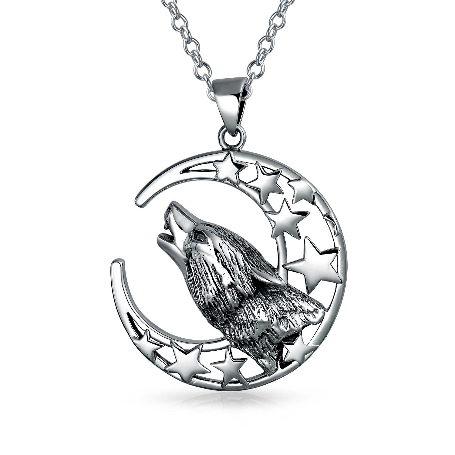 1500x1500 Howling Wolf Moon Pendant 925 Silver