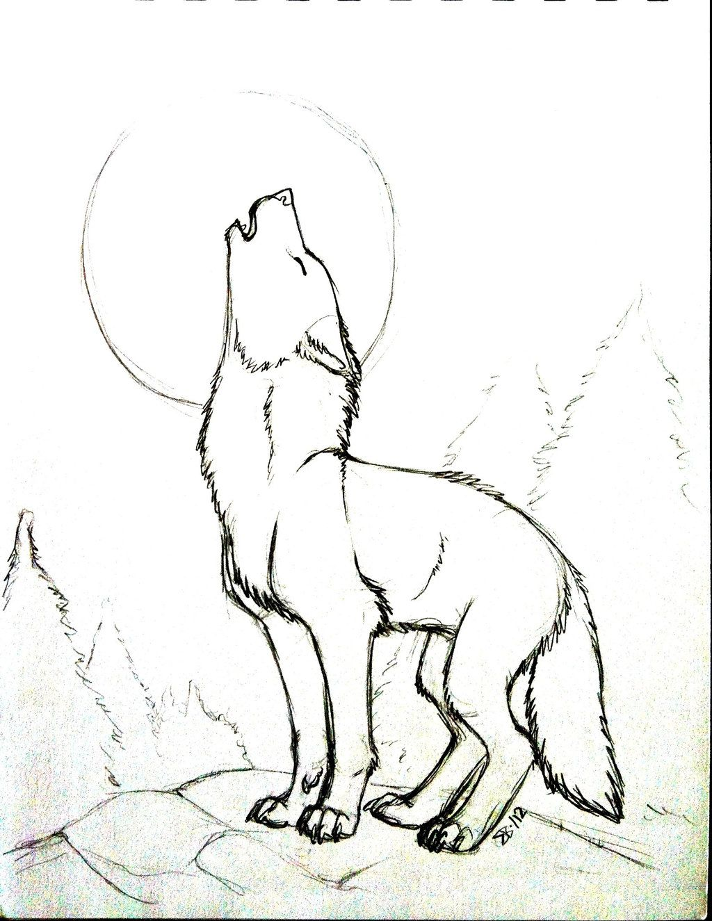 1024x1325 Pix For Gt Drawings Of A Wolf Howling At The Moon Lino Print