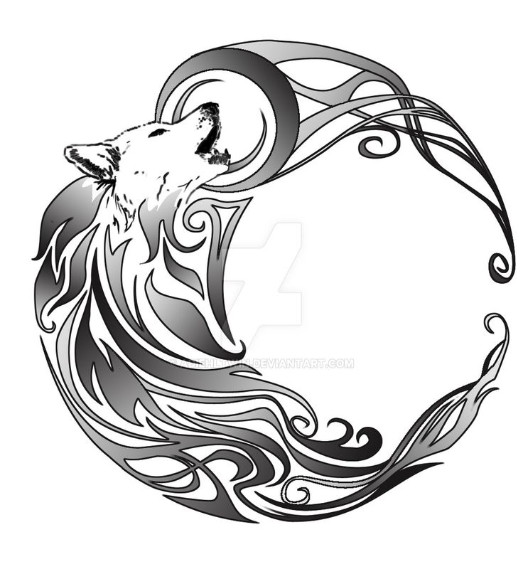 736x807 Collection Of Black Crescent Moon And Tribal Wolf Howl Tattoos