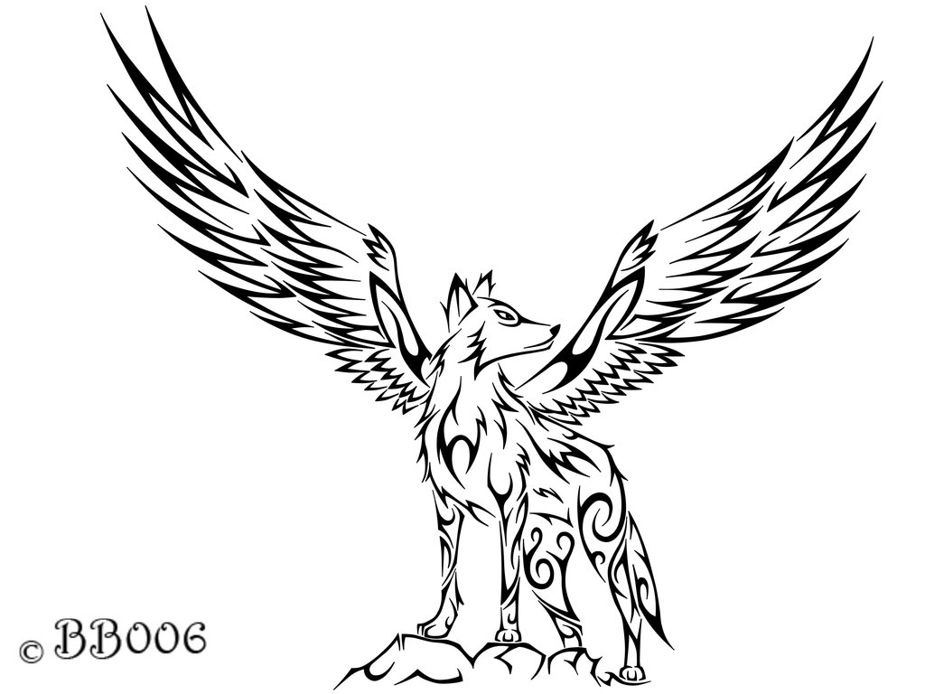 1024x768 Tribal Winged Wolf A Wolf, Tattoo And Wolf Tattoos