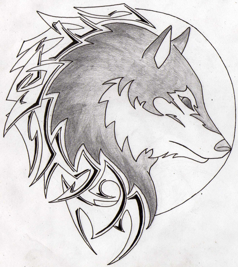 914x1024 Wolf And Moon Drawing How To Draw A Wolf Howling At The Moon Step