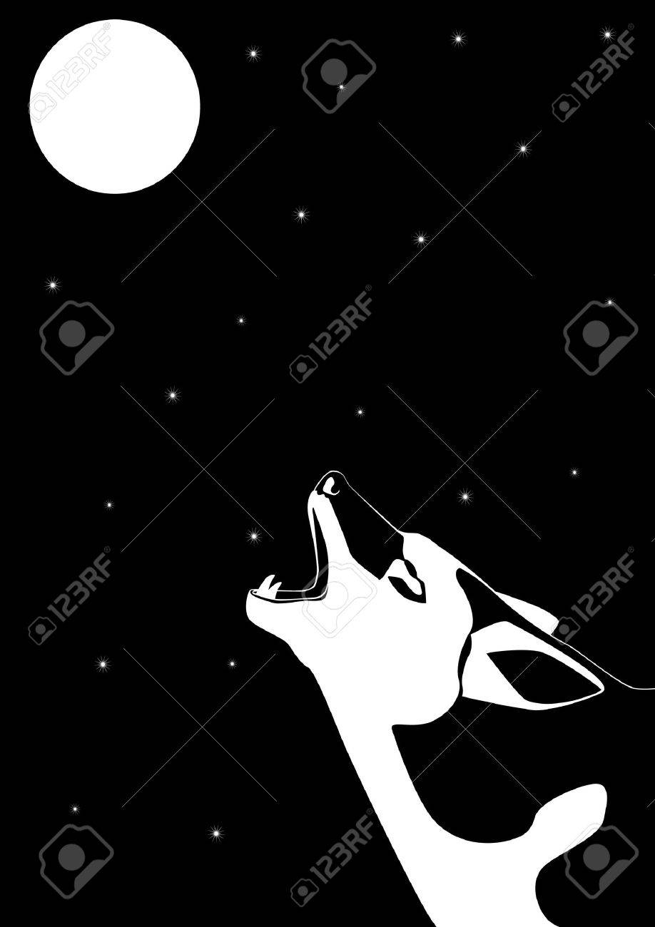 918x1300 Wolf Howling At The Moon. Black And White Illustration. Royalty