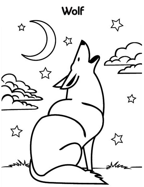 600x776 Wolf Howling Coloring Page
