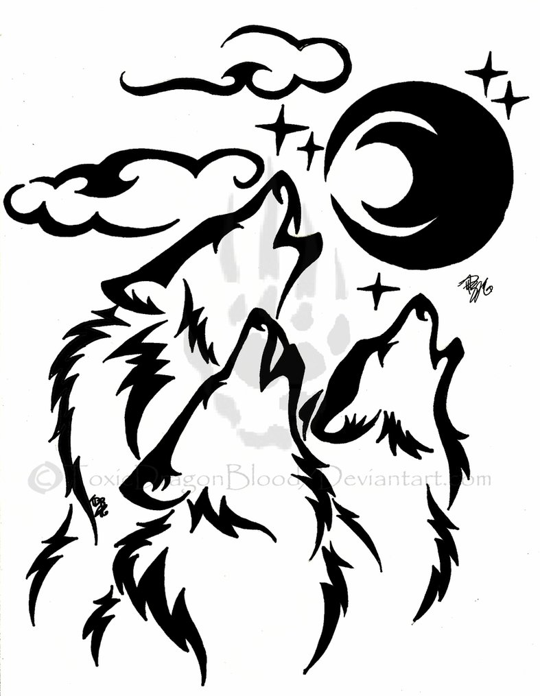 787x1015 Drawn Howling Wolf Wolf Pack