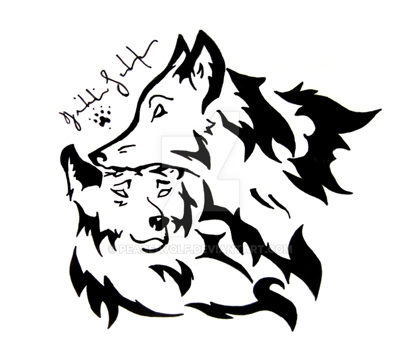 800x694 Tribal Wolf Love By Peace Wolf