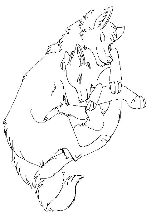 500x716 Anime Wolf Love Line Art Andrew Fuller Wolf