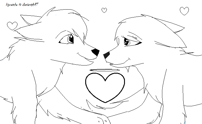 692x426 Wolf Love Lineart By Bigcatsha