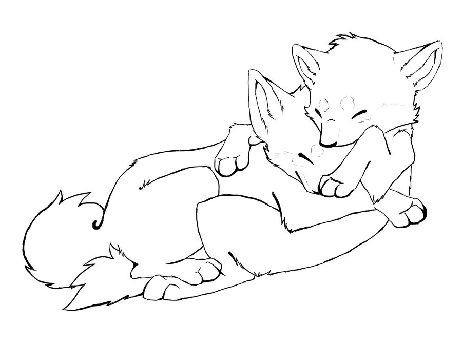 900x675 Wolves Cuddling Free Lineart By Motzii