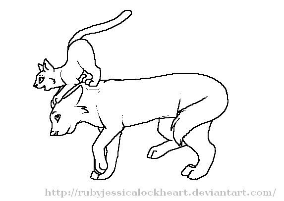 573x406 Cat And Wolf Love Lineart By Rubyjessicalockheart