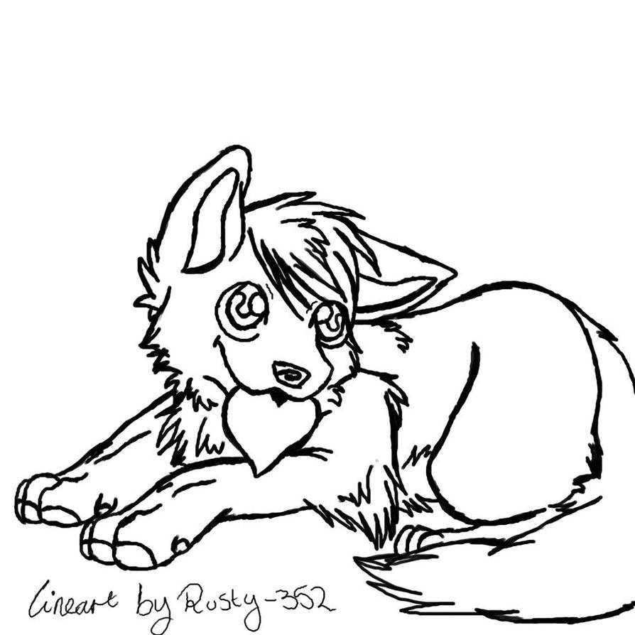894x894 Free Chibi Wolf Lineart By P0ckyy
